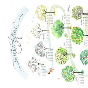 """2015 tea towel calendar for linen-cotton canvas - """"le bois des mois"""""""