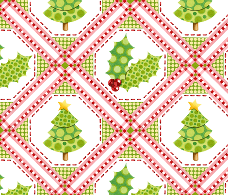 Christmas Tree and Holly fabric by patriciasheadesigns on Spoonflower - custom fabric