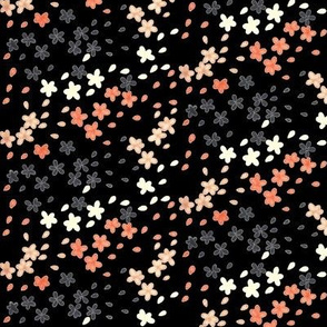 Calligraphy Blossoms(Black/Peach)