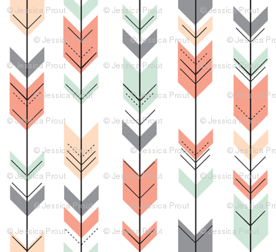 Fletching Arrows // Coral,Grey,Mint,Peach