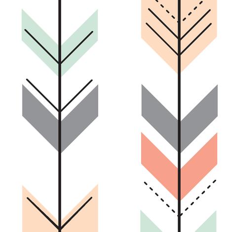 Fletching Arrows // Coral,Grey,Mint,Peach fabric by littlearrowdesign on Spoonflower - custom fabric