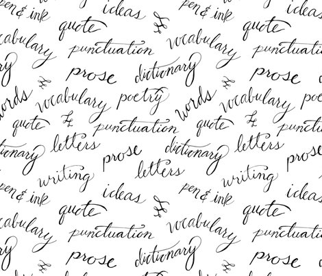 Literary Calligraphy Fabric Radianthomestudio Spoonflower