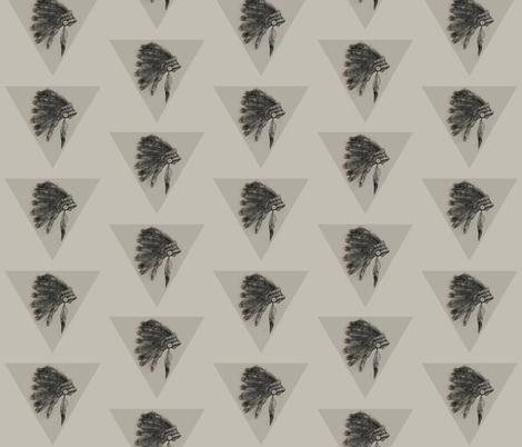 Indian //  Head dress monochrome // tribal // nicholefranklindesigns fabric by nicholefranklindesigns on Spoonflower - custom fabric