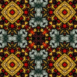 Decorative Stained Glass Tile Repeat in Red, Gold and Grey