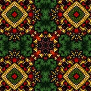 Decorative Stained Glass Tile Repeat in Christmas Colors