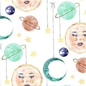 sun, moon, star, planet