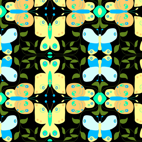 Butterfly Vines on Black fabric by eclectic_house on Spoonflower - custom fabric