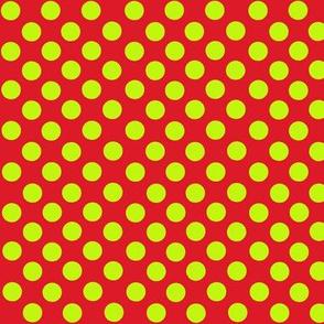 Lime/Red Polka Dots Christmas Santa Grinchy colors-ch