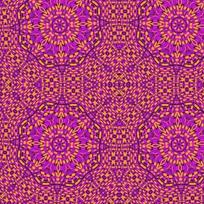 orange black pink kaleidescope pattern