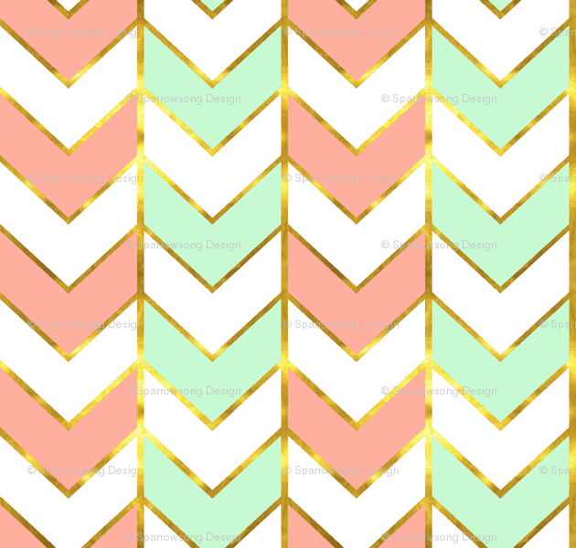 Gilded Herringbone in Shades of Mint and Light Coral fabric ...