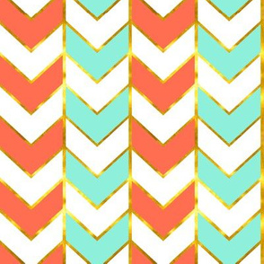 Gilded Herringbone in Bright Coral and Mint