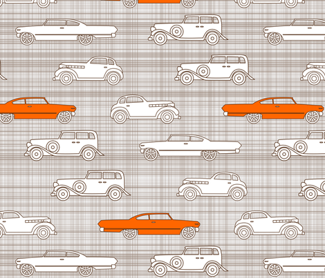 Vintage Cars Brown & Orange fabric by mrshervi on Spoonflower - custom fabric