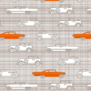Vintage Cars Brown & Orange