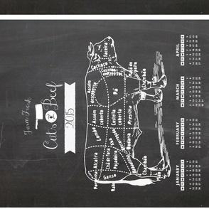 2015 Calendar Chalkboard ButcherCow Teatowel