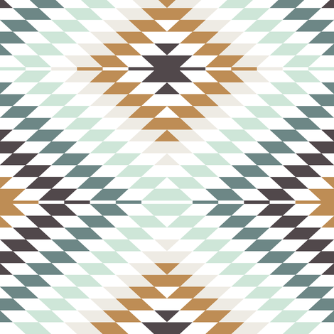 Aztec // mint and teal fabric by littlearrowdesign on Spoonflower - custom fabric