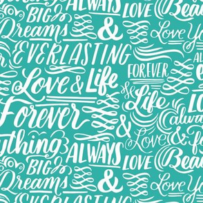 Love Forever Lettering - turquoise
