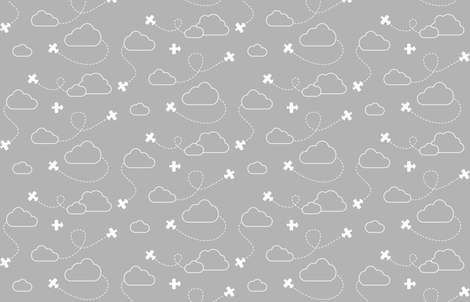 Airplanes in Clouds White on Gray fabric by cavutoodesigns on Spoonflower - custom fabric