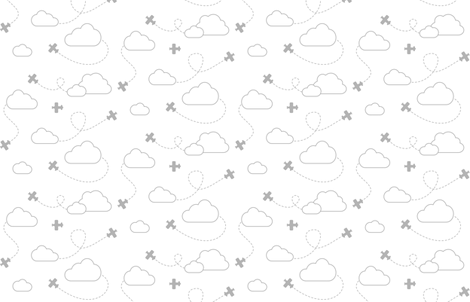 Airplanes in Clouds Gray on White fabric by cavutoodesigns on Spoonflower - custom fabric
