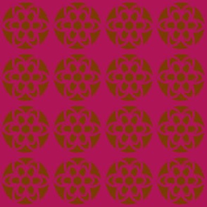 retro flowers purple brown