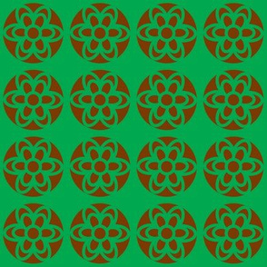 retro flowers green brown