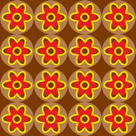 retro flowers red yellow brown fabric by tailorfairy on Spoonflower - custom fabric