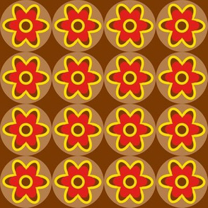 retro flowers red yellow brown