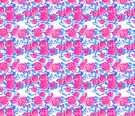 Roses & Vines by hand large fabric by karenharveycox on Spoonflower - custom fabric