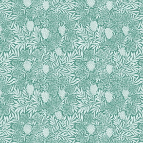 William Morris ~ Jungle Vines ~ White on Peacoquette