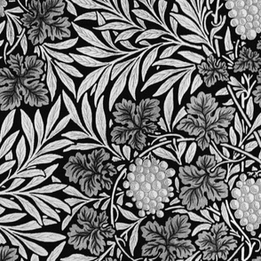 William Morris ~ Jungle Vines ~ Black and Silver