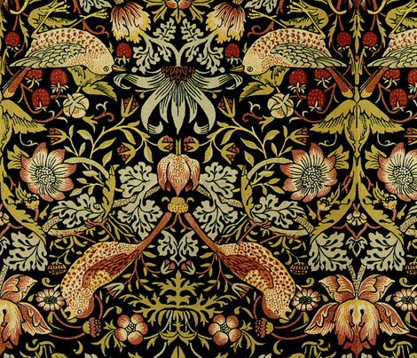 William Morris Strawberry Thief Intense Mirrored Fabric By Peacoquettedesigns On Spoonflower