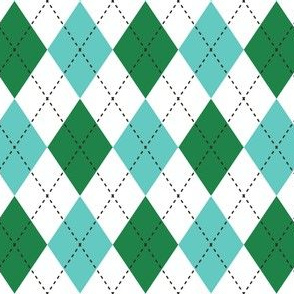 Argyle Green & Blue