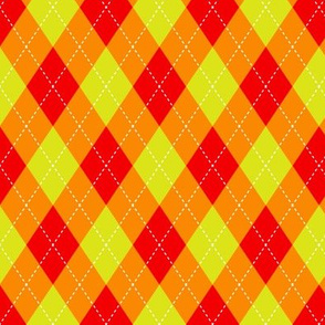 Argyle Red & Orange