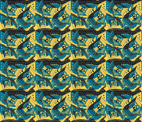 TRICHROMATIC DELIRIUM  TURQUOISE YELLOW fabric by paysmage on Spoonflower - custom fabric