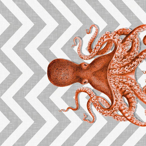 Coral Octopus on Grey Chevron Tea Towel