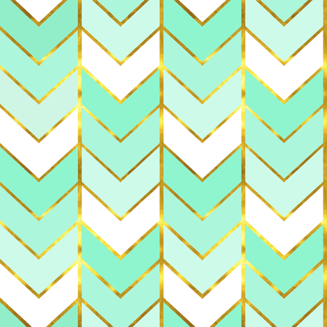 Gilded Ombre Herringbone in Mint wallpaper ...
