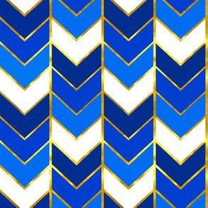 Gilded Ombre Herringbone in Blue