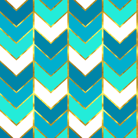 Gilded Ombre Herringbone in Aqua fabric by willowlanetextiles on Spoonflower - custom fabric