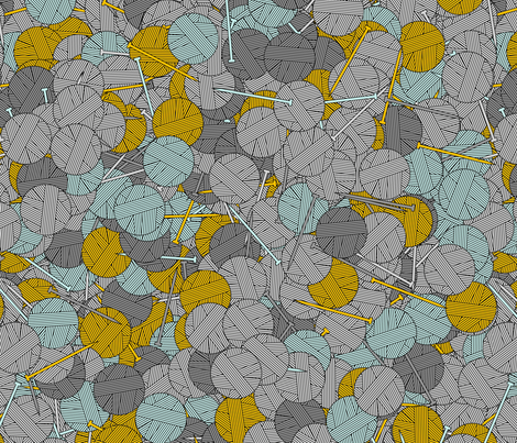 Yarn balls - yellow and gray fabric by spacefem on Spoonflower - custom fabric