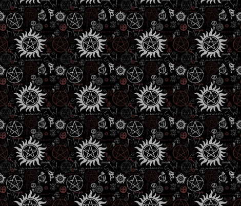 Supernatural Symbols Black fabric by tag_graphics on Spoonflower - custom fabric