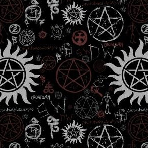 supernatural fabric wallpaper gift wrap Spoonflower