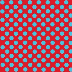 Santa's Wonderland Polka Dot Christmas Lt Blue/Red-ch