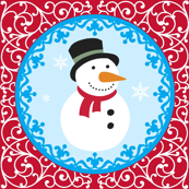 Oh Snow Man Red Scrolling