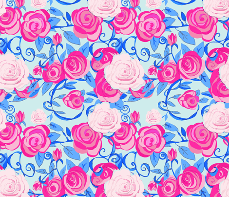 Roses & Vines with Shabby Chic roses-ch fabric by karenharveycox on Spoonflower - custom fabric