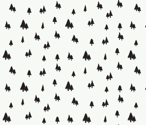 Evergreens in Snow fabric by bella_modiste on Spoonflower - custom fabric
