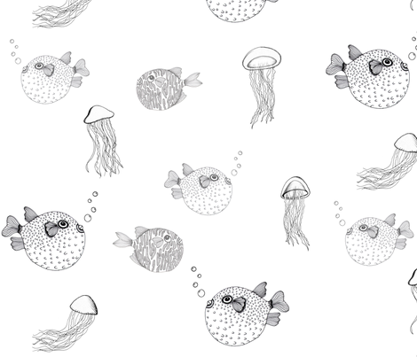 Jellyfish and Pufferfish on White fabric by bella_modiste on Spoonflower - custom fabric