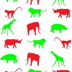 African Safari Animals on Parade -- Red and Green on White