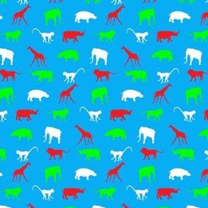 African Safari Animals on Parade -- Red, Green and White on Blue