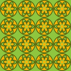 retro flowers yellow and green