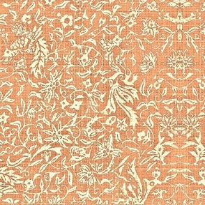 Bird of Paradise French Linen - salmon, ivory