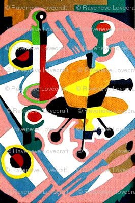 vintage retro kitsch pop art abstract dining cutlery table knife knives forks wine bottles cakes glasses cups colorful meals food lunch dinner  cubist cubism